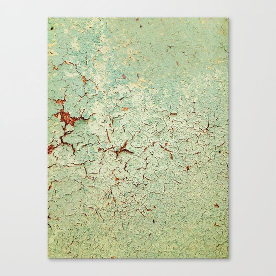 Cracked Wall Texture Green Canvas Print