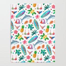 Dotty Summer Beach Pattern Poster