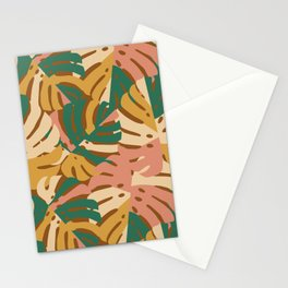 Monstera Leaves - Gold - Green - Pink Stationery Cards