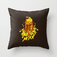 mad Throw Pillows featuring Mad by Demonigote