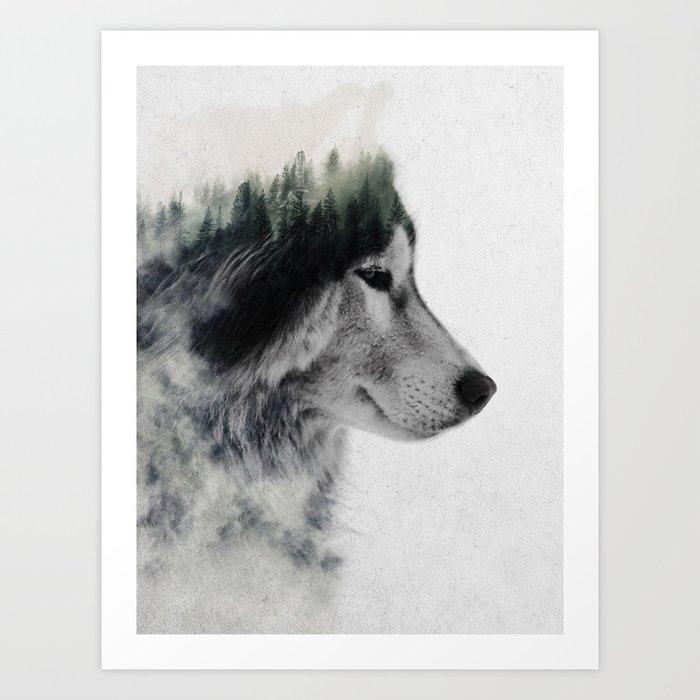 Sunday's Society6 | Double exposure wolf photography art print
