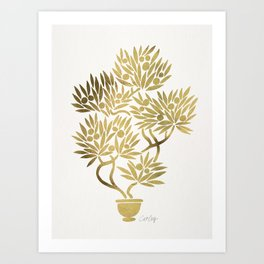 Bonsai Fruit Tree – Gold Palette Art Print