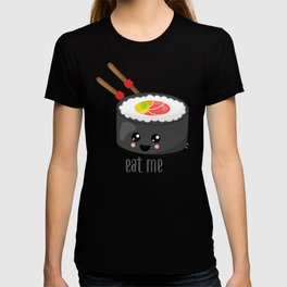 Eat Me in black T-shirt