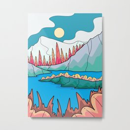 The forest mountain of the lake Metal Print