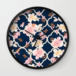 Blush Pink Floral on Navy Wall Clock