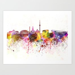 Stuttgart skyline in watercolor background Art Print