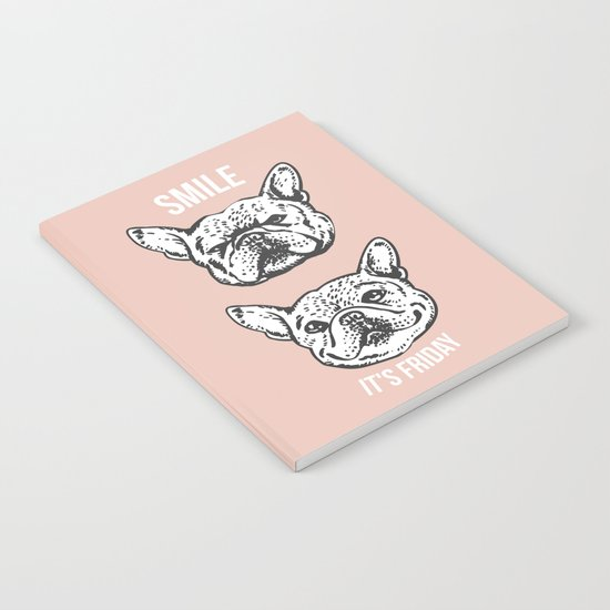 Smile It's Friday Frenchie Notebook