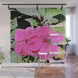 pink Impatiens - flower Wall Mural