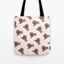Dog Pattern 2 on Girly Pink Tote Bag