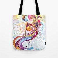 phoenix Tote Bags featuring Phoenix by Nick La