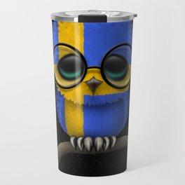 Baby Owl with Glasses and Swedish Flag Travel Mug