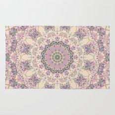 47 Wisteria Circle - Vintage Cream and Lavender Purple Mandala Rug
