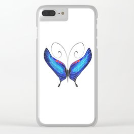 Blue Morpho Butterfly Clear iPhone Case