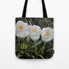 Three Little White Flowers Tote Bag