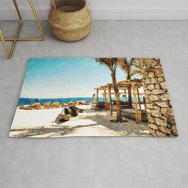 Watercolor Painting of Mykonos Beach Rug