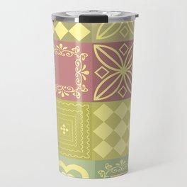 Colorful pink and mustard pattern . Travel Mug