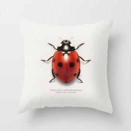 Seven spot ladybird Throw Pillow