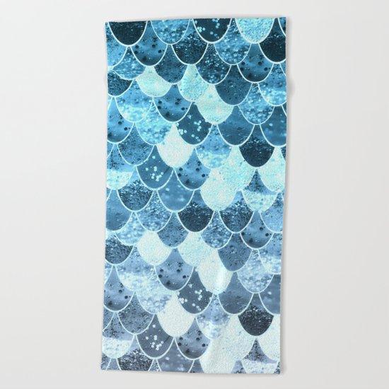 REALLY MERMAID SILVER BLUE Beach Towel