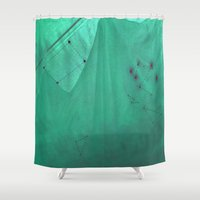 geometry Shower Curtains featuring Geometry green ghost by BIGEHIBI