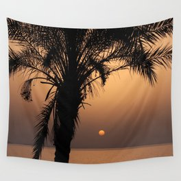 sunset with palm tree in turgutreis Wall Tapestry