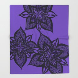 Floral Fantasy in Purple Throw Blanket