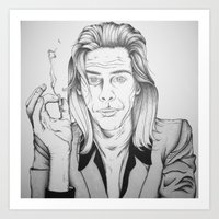 nick cave Art Prints featuring Nick Cave by Kattesmatte