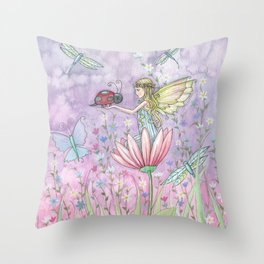 A Friendly Encounter Fairy and Ladybug Art by Molly Harrison Throw Pillow
