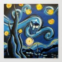 targaryen Canvas Prints featuring Tardis Starry Night by DavinciArt
