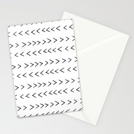 linocut Mudcloth grey and white minimal modern chevron arrows pattern gifts dorm college decor Stationery Cards