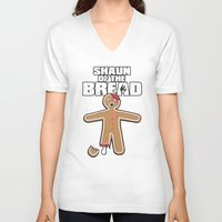 shaun of the dead V-neck T-shirts featuring Shaun Of The Dead (Shaun Of The Bread) by Creative Spectator