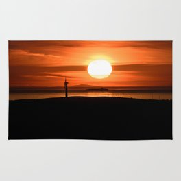 Isle of Anglesey View of Ireland Mountains Sunset Rug