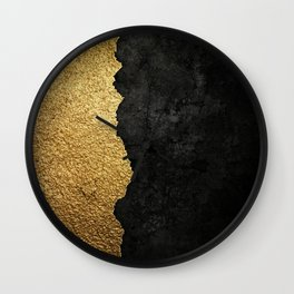 Gold torn & black grunge Wall Clock