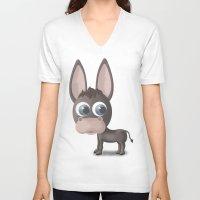 donkey V-neck T-shirts featuring DONKEY by Ainaragm