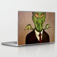 lovecraft Laptop & iPad Skins featuring Prophets of Fiction - H.P. Lovecraft /Cthulhu by niles yosira