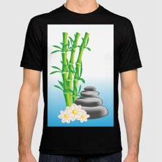 Meditation stones with bamboo and flowers MEDIUM Black Mens Fitted Tee