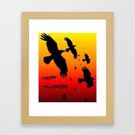 Happy Halloween Murder of Crows  Framed Art Print