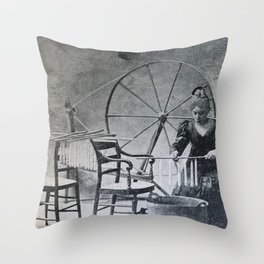 Antique candle making Throw Pillow