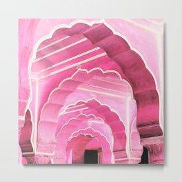 Amber Fort Jaipur Pink Mood Metal Print