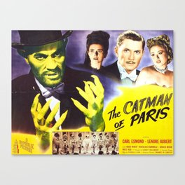 The Catman of Paris, Vintage Horror Movie, Theater Poster Canvas Print
