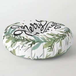 Merry Christmas Wreath Floor Pillow
