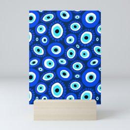 Evil Eye Symbol Blue White Pattern Mini Art Print