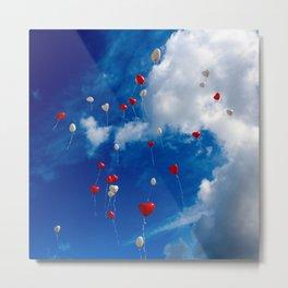 Drifting Heart Balloons Metal Print