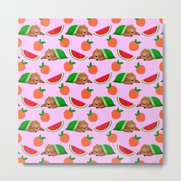 Cute funny sweet adorable sleeping dreaming baby sloths under a blanket, little peaches and red ripe summer tropical watermelons cartoon fantasy pastel pink pattern design Metal Print