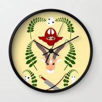 kodama Wall Clocks featuring Ashitaka,Yakul,Kodama by Rcdbstp21