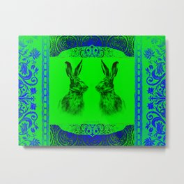 Happy Hare Green-Blue Metal Print