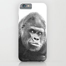 Black and White Gorilla iPhone Case