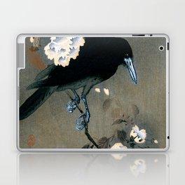 Vintage Japanese Crow and Blossom Woodblock Print Laptop & iPad Skin