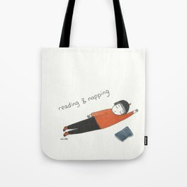 reading and napping Tote Bag