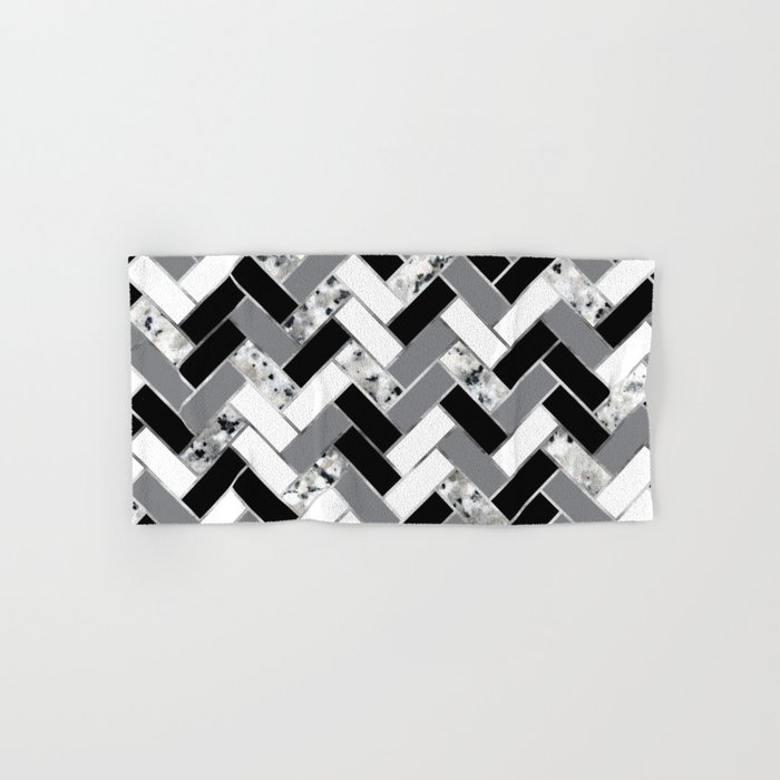 Shuffled Marble Herringbone - Black/White/Gray/Silver Hand & Bath Towel