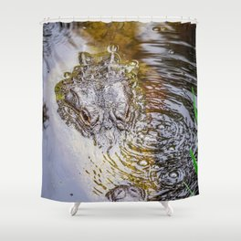 Gator Blowing Bubbles Shower Curtain
